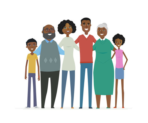 Happy African family - cartoon people characters isolated illustration vector art illustration