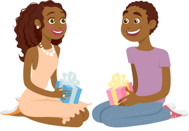 Happy african-american couple with gifts in their hands. Happy smiling african-american couple with gifts in their hands. Good for Valentines day or birthday designs. african american valentine stock illustrations