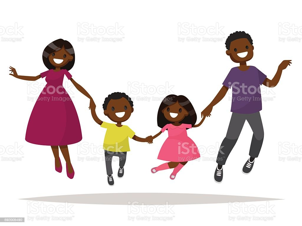 Happy African-American family is jumping. Dad mom daughter and vector art illustration