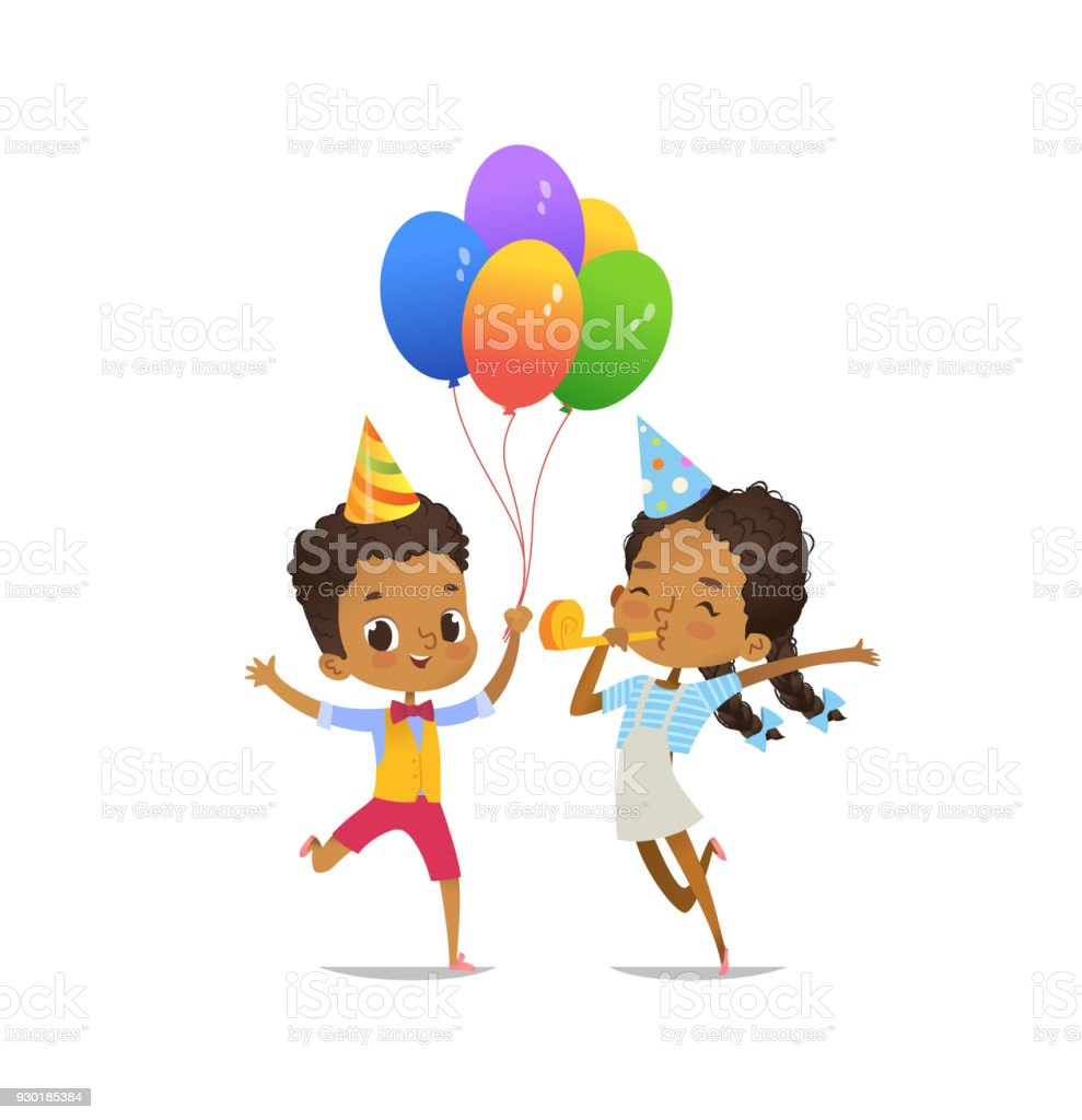 Happy Africanamerican Kids With The Balloons And Birthday Hat ...