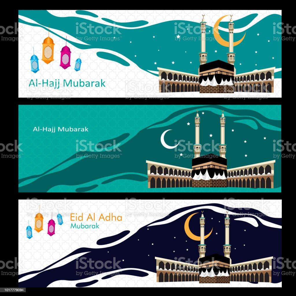 Happy al hajj mubarak and eid ul adha vector art illustration