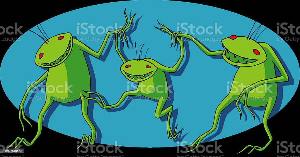 Happy Alien Family vector art illustration