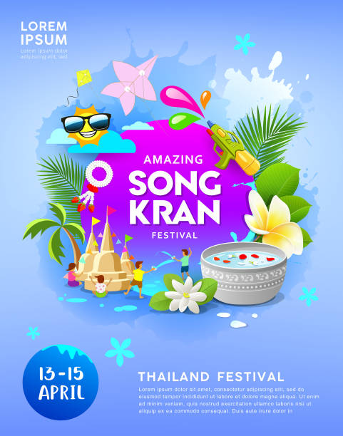 happy amazing songkran festival thailand on blue poster - songkran festival stock illustrations, clip art, cartoons, & icons