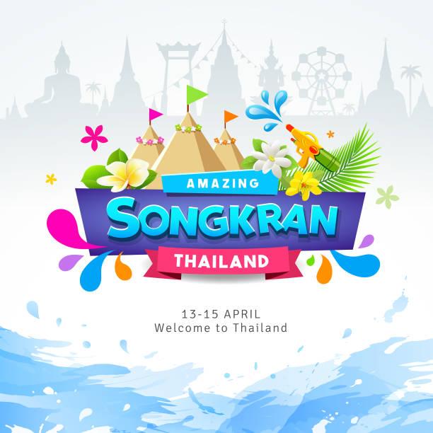 happy amazing songkran thailand festival colorful ribbon banner water splash - songkran festival stock illustrations, clip art, cartoons, & icons
