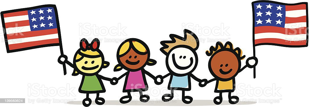 happy american patriotic children with USA flag cartoon illustration royalty-free happy american patriotic children with usa flag cartoon illustration stock vector art & more images of american culture