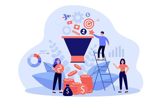 Happy analysts analyzing market via social media