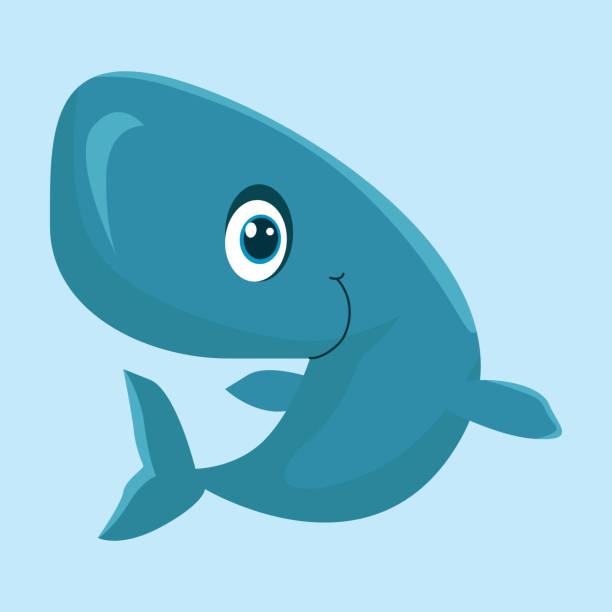 happy and cheerful little blue whale, cartoon character cartoon images of adorable pink whale smiling beluga whale stock illustrations