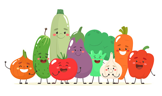 Happy and cheerful vegetables together. Vector illustration in flat cartoon style.