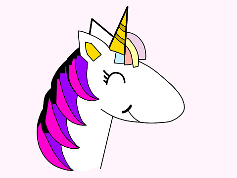 Happy and colorful unicorn head and face on a light background