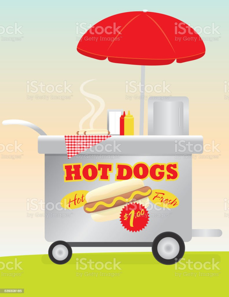 Happy and cute Hot Dog vendor stand on summer background vector art illustration