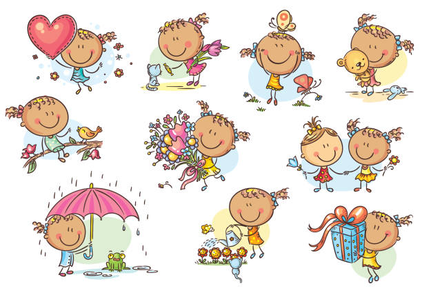 Happy and cute little girl set, vector vector art illustration