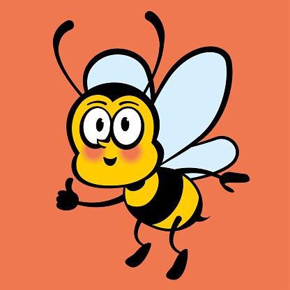 Happy And Positive Bee Cartoon