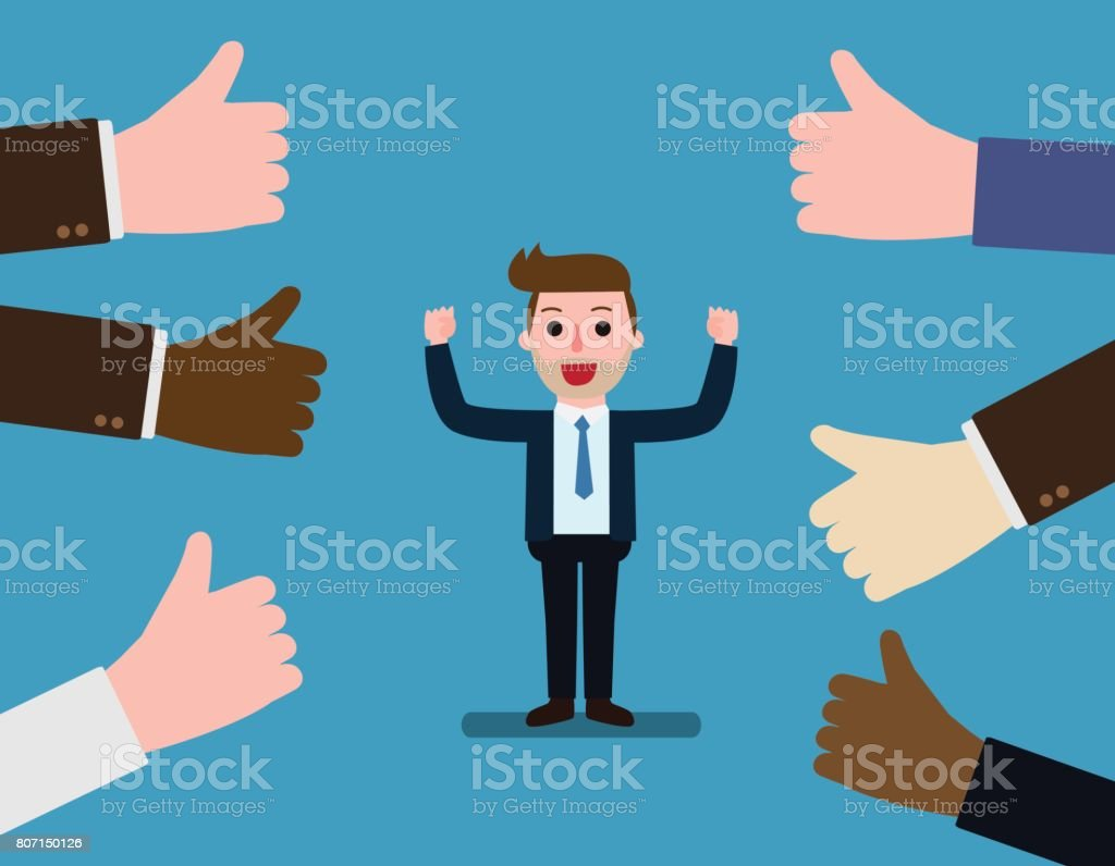 Happy and proud businessman with many thumbs up hands around him. Concept Business compliment. Vector flat cartoon character icon design. illustration isolated on backgroud vector art illustration