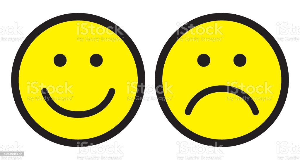 Happy And Sad Face Icons Smileys Stock Vector Art More Images Of
