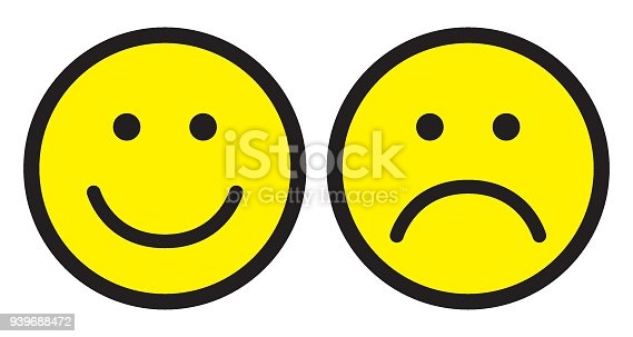 istock Happy and sad face icons. Smileys. 939688472