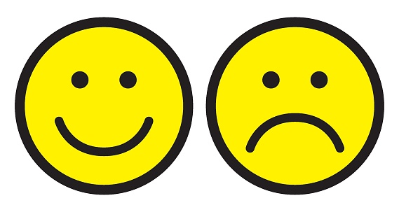 Happy and sad face icons. Smileys. clipart