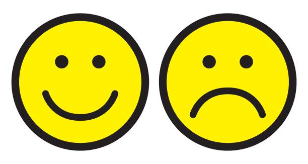 Happy and sad face icons. Smileys. Happy and sad face icons. Smileys. Face symbols. Flat stile. Vector illustration. happiness stock illustrations