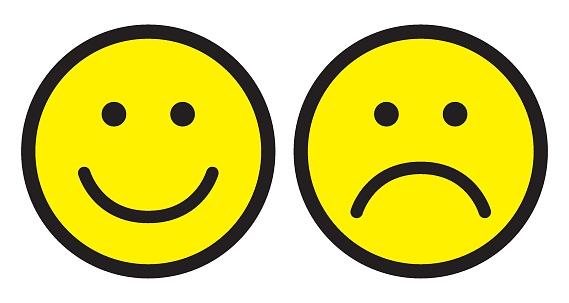 행복 하 고 슬픈 얼굴 아이콘입니다 스마일입니다 0명에 대한 스톡 벡터 아트 및 기타 이미지