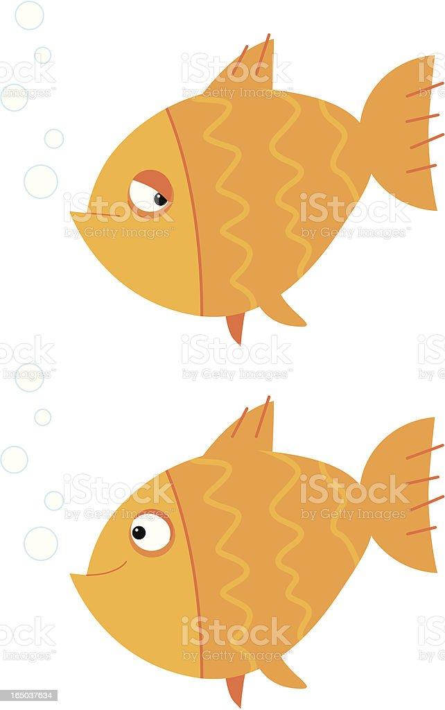 happy and sad fish vector art illustration