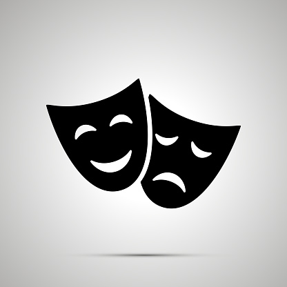 Happy and sad theater masks, simple black icon