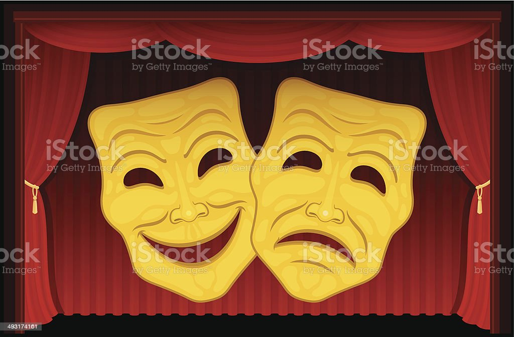 Happy and Sad Theater Masks royalty-free stock vector art