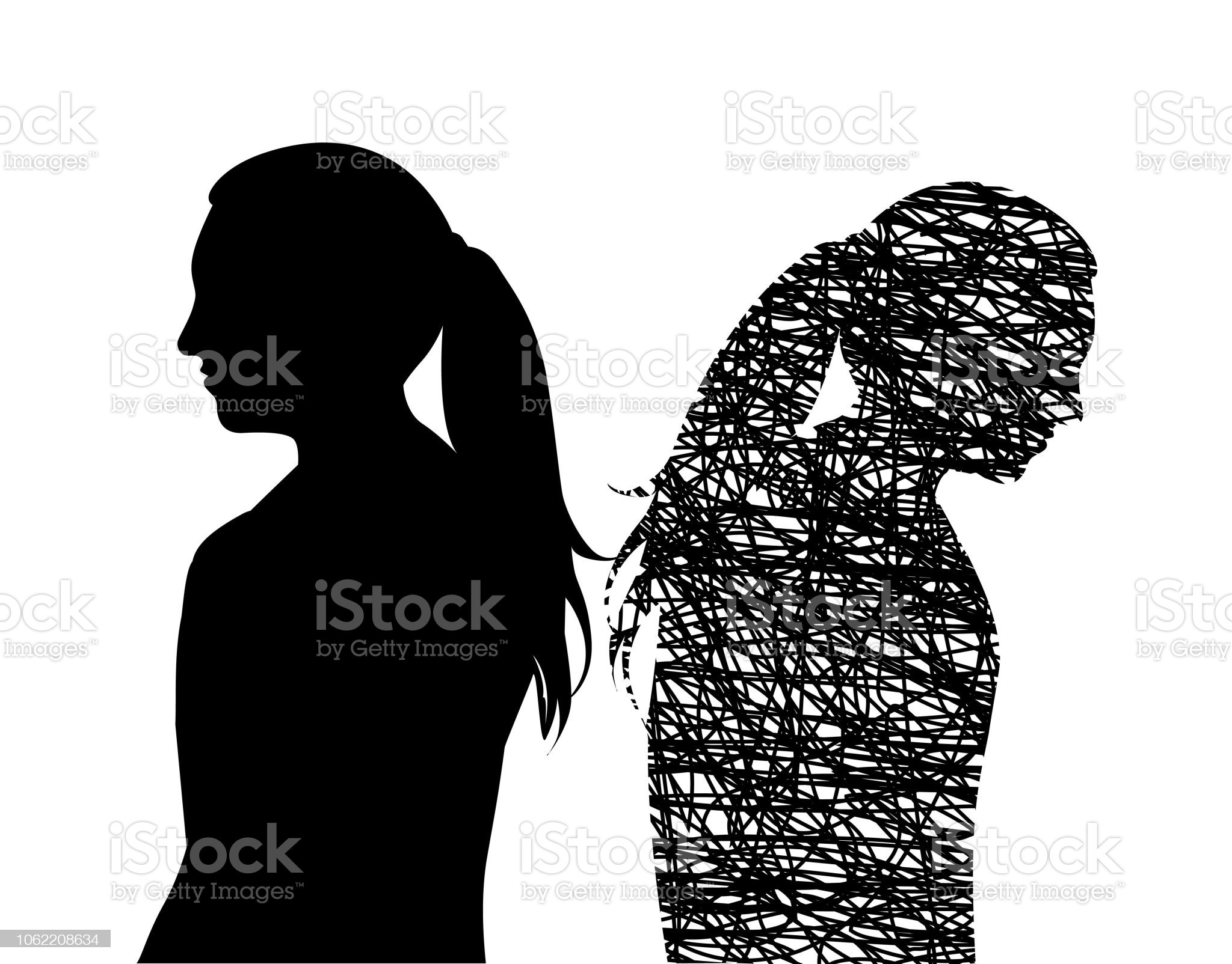 Happy And Sad Young Woman royalty-free happy and sad young woman stock illustration - download image now