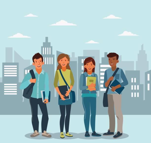 ノートブックと生徒たちの幸せと笑顔のグループ。学校のベクトル図に戻る - 高校スポーツ点のイラスト素材/クリップアート素材/マンガ素材/アイコン素材