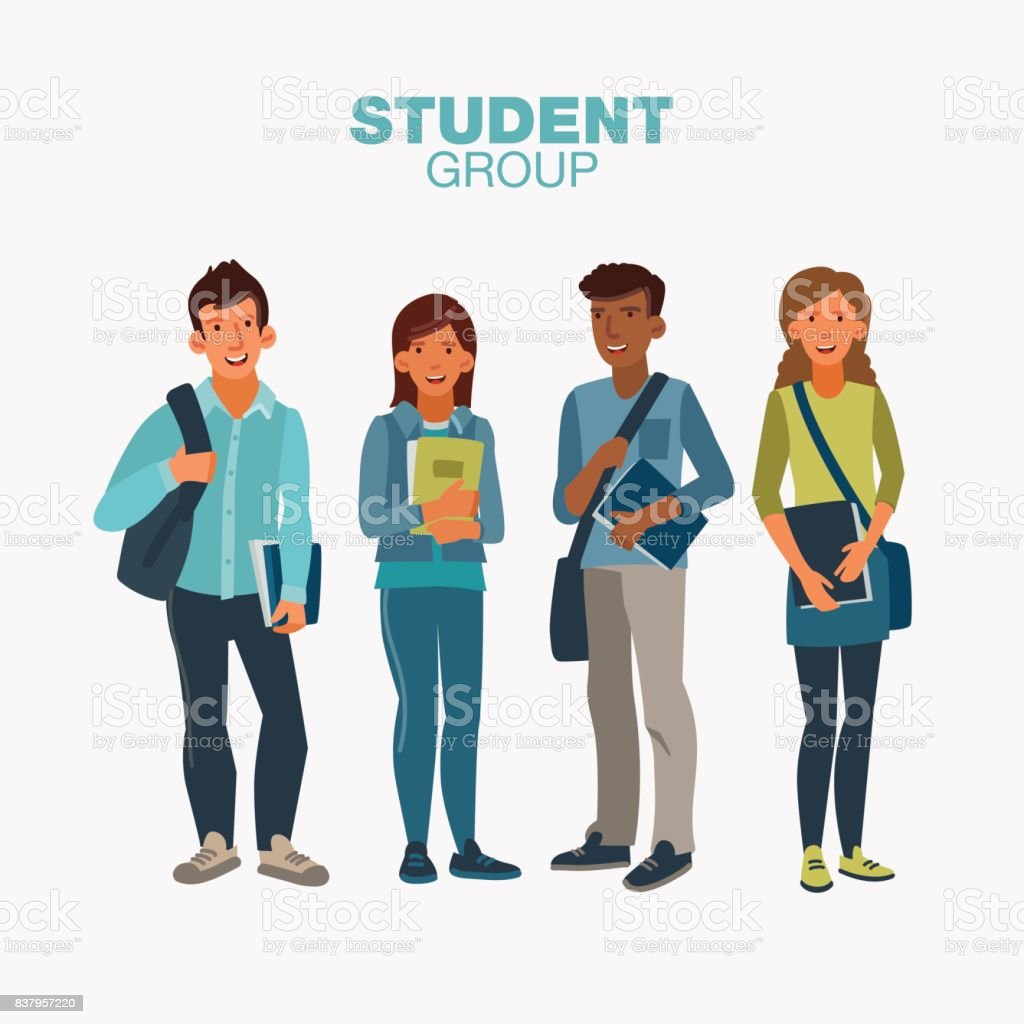 ノートブックと生徒たちの幸せと笑顔のグループ。学校のベクトル図に戻る ベクターアートイラスト