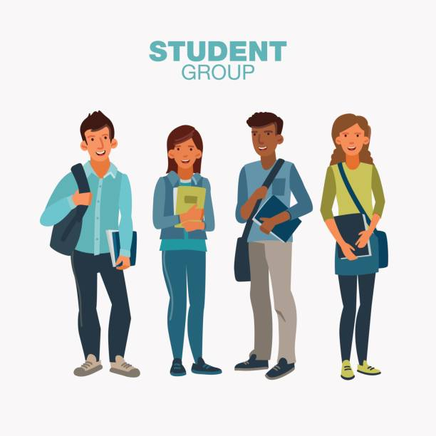 Happy and smiling group of students standing with notebooks. Back to school vector illustration vector art illustration