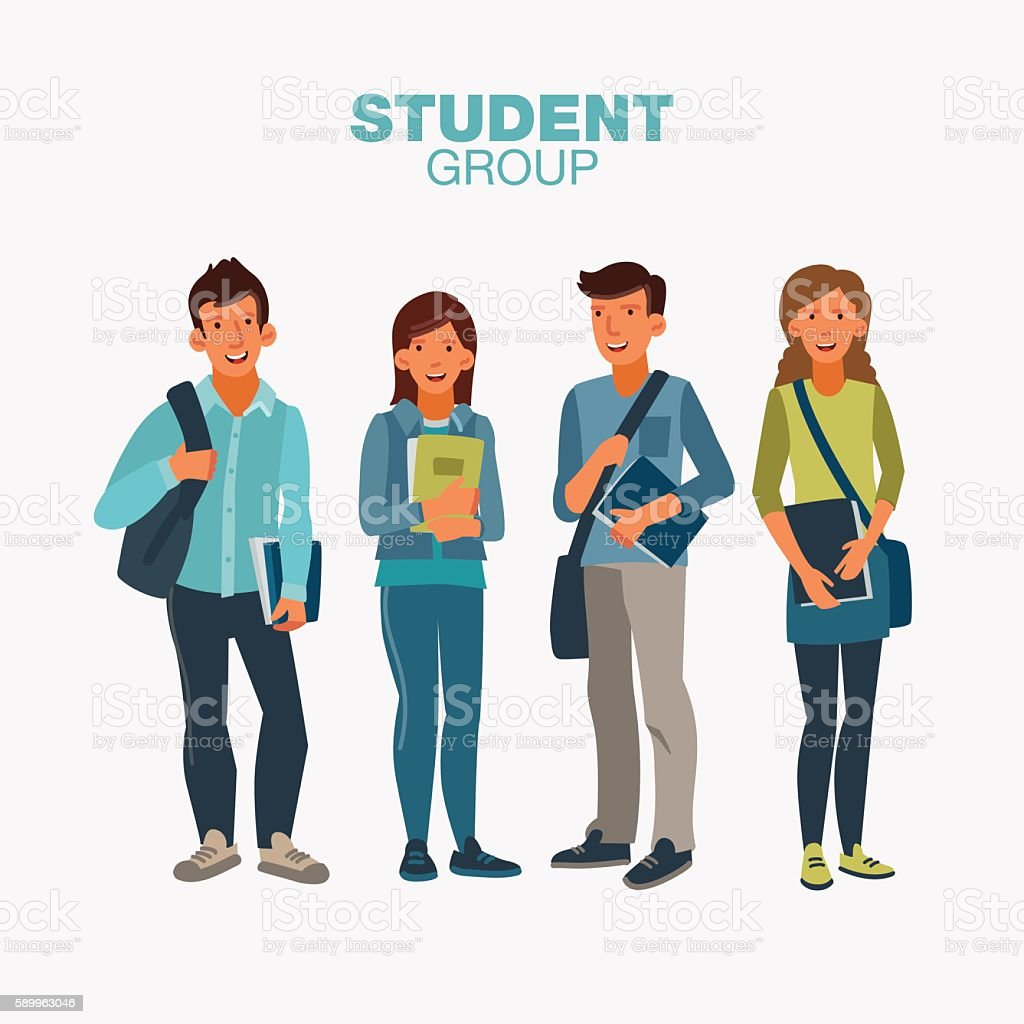 Happy and smiling group of students standing with notebooks - ilustración de arte vectorial