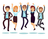 Happy and smiling workers, business people jumping flat vector characters