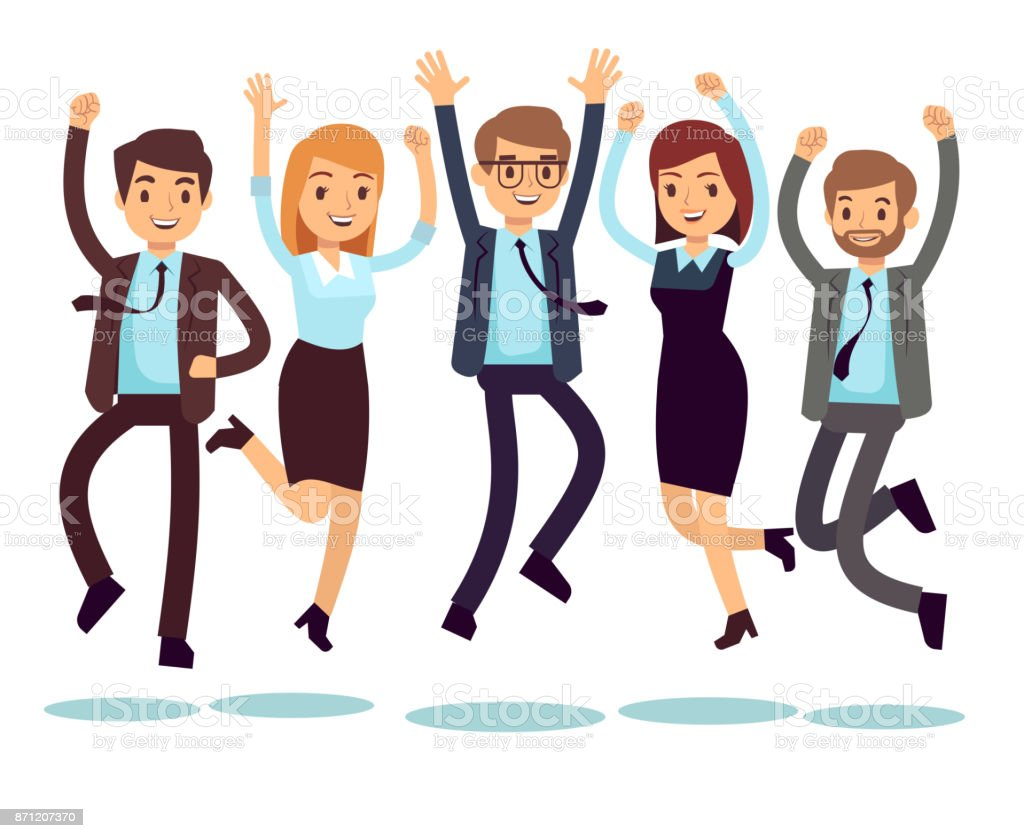 Happy and smiling workers, business people jumping flat vector characters vector art illustration