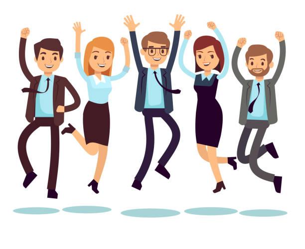 glücklich und lächelnd arbeiter, geschäftsleute springen flache vektor-zeichen - viel glück stock-grafiken, -clipart, -cartoons und -symbole
