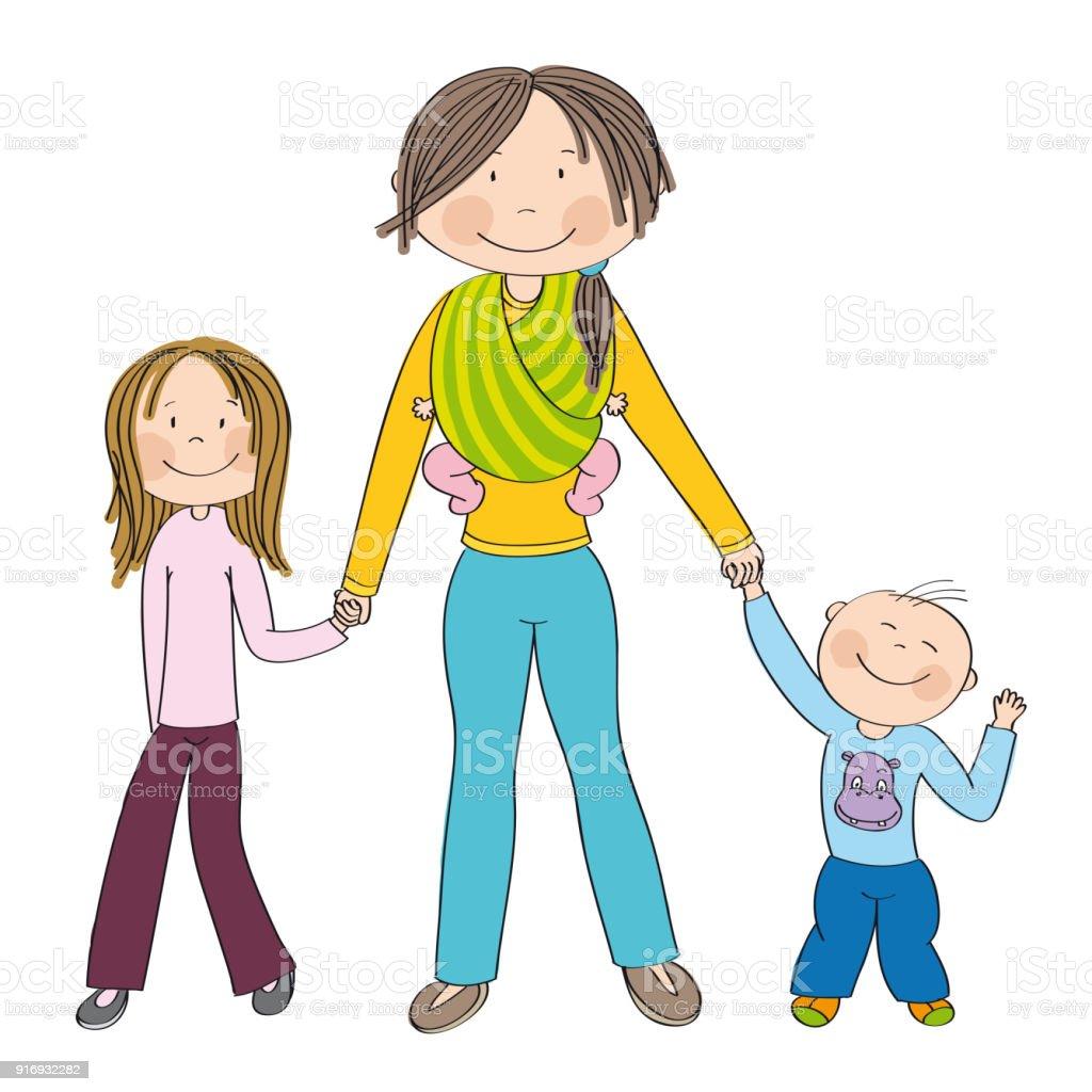 3 人の子供 少女と少年と小さな女の赤ちゃんスリング すべての 3 つの