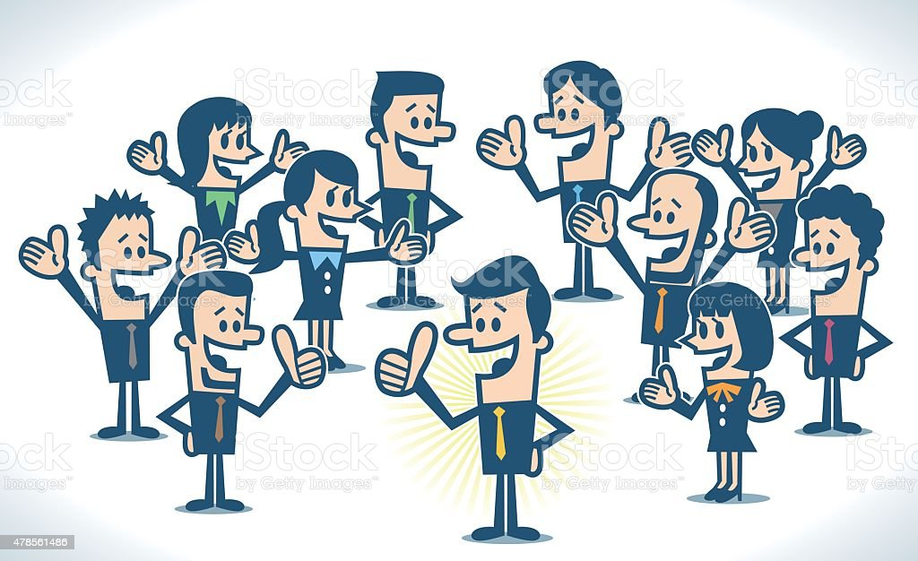Happy and success business people vector art illustration