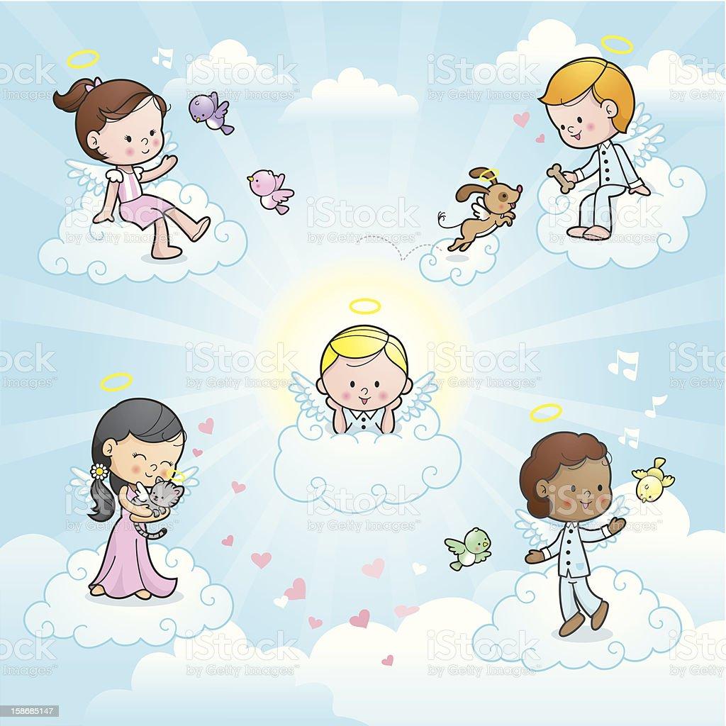 Happy angel kids in heaven vector art illustration