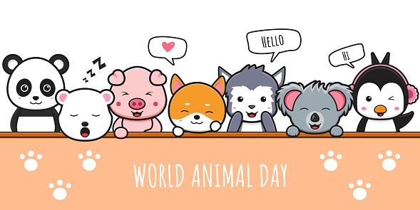 Happy animal celebration world animal day banner icon cartoon illustration