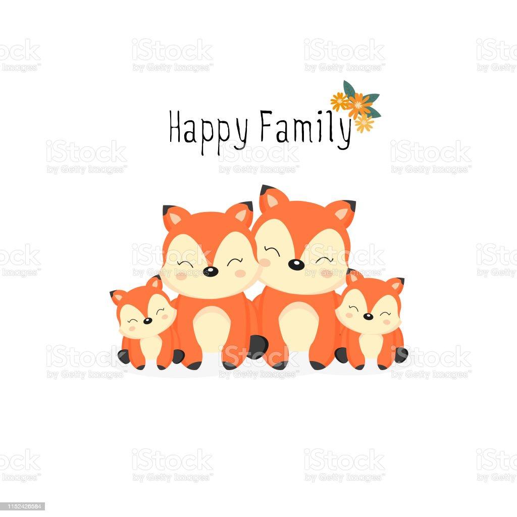 Happy animal family. Dad, mom, baby foxes cartoon.
