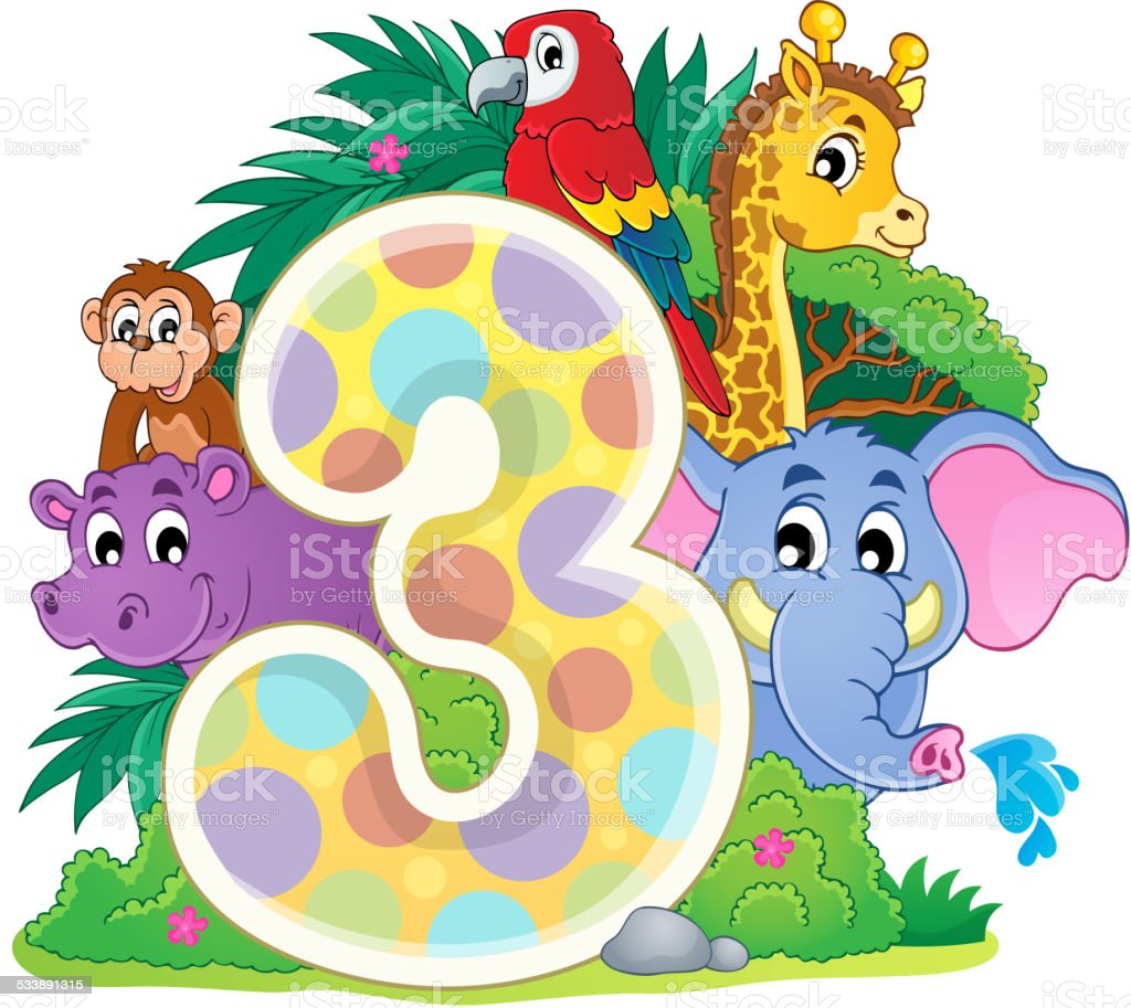Happy animals around number three - eps10 vector illustration.