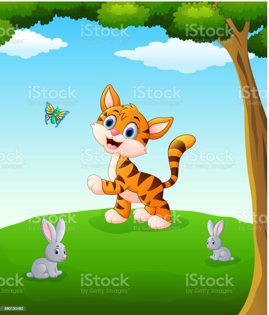 vector illustration of Happy animals cartoon on the field