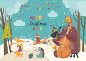 Vector Merry christmas card with animals and music