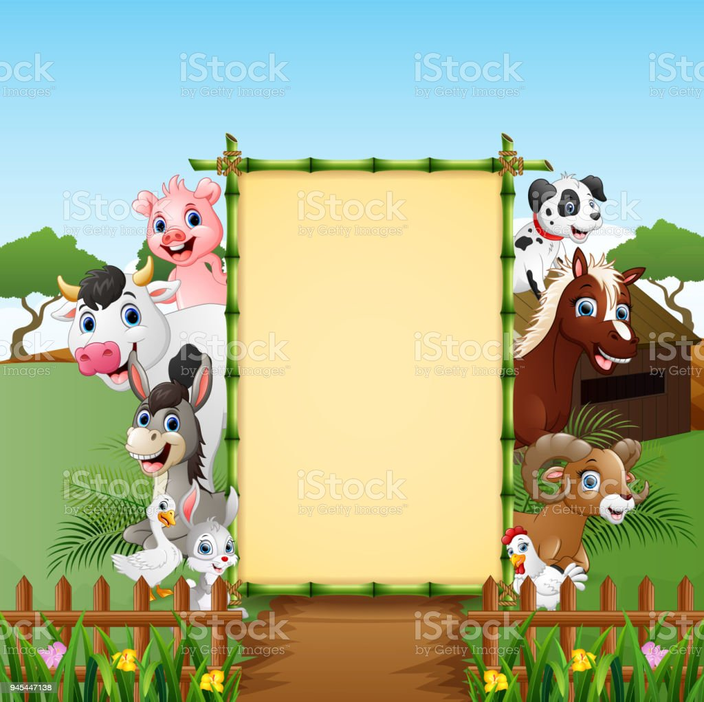 happy animals farm with blank sign stock vector art more images of