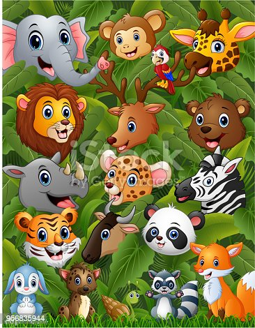 Vector illustration of happy animals forest together