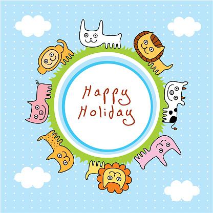 행복 한 동물 인사말 카드 구름에 대한 스톡 벡터 아트 및 기타 이미지
