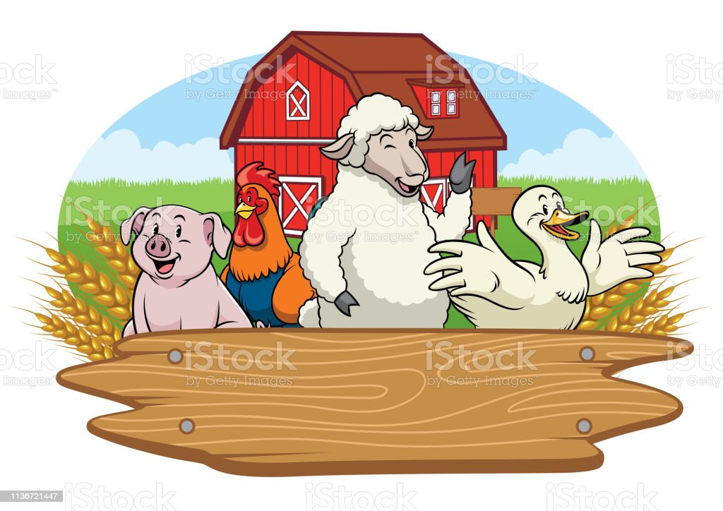 vector of happy animals in the farm yard with blank wooden sign