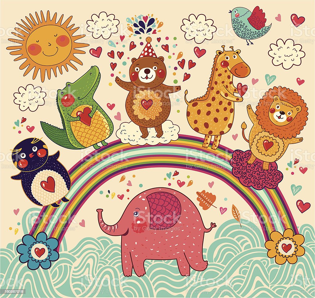 Vector set of funny and happy animals on the rainbow. Greeting card.