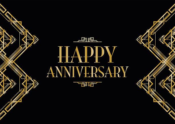 happy anniversary art deco background vector art illustration