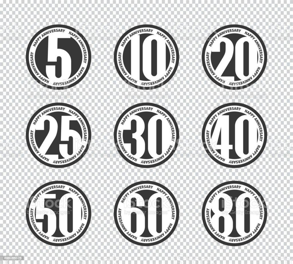 Happy Anniversary Banner. 5., 10., 20., 25., 30., 40., 50., 60., 80. Jubiläums-Set. – Vektorgrafik