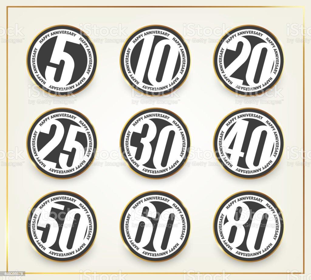 Happy Anniversary banners. 5th, 10th, 20th, 25th, 30th, 40th, 50th, 60th, 80th anniversary  set.