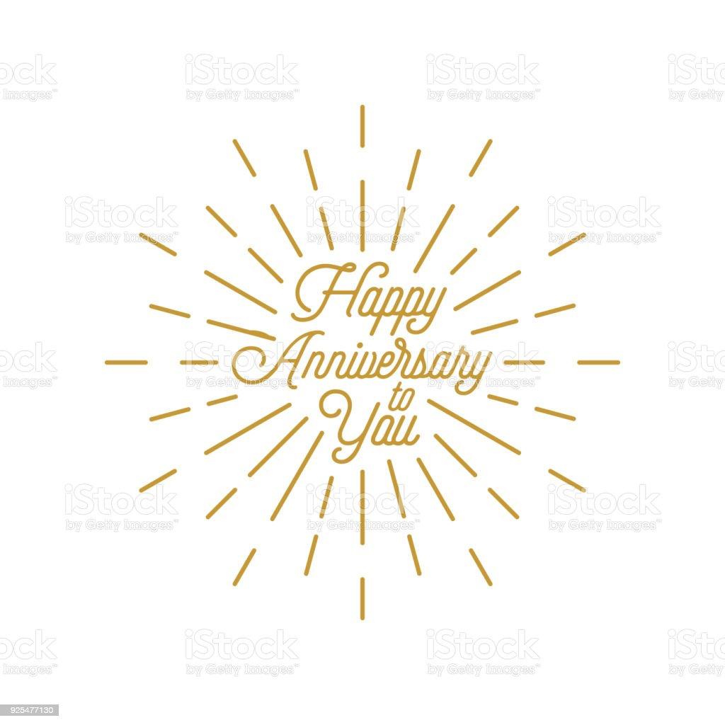 Happy Anniversary Burst Element Design Greeting Card Icon Stock